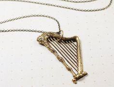 Harp necklace brass vintage style long retro by mylavaliere