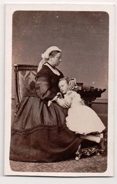 Queen Victoria with Princess Beatrice in a rather strange portrait. I've always thought Princess Beatrice looked dead in this picture. Queen Victoria Family, Queen Victoria Prince Albert, Victoria And Albert, Princess Victoria, Princess Louise, Princess Alice, Princess Beatrice, Princess Charlotte, Admiral Of The Fleet