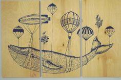 Whale In Flight Wall Art    3 Beautiful  Birch by CedarWorkshop, $119.00