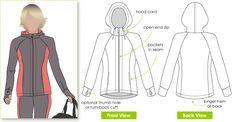 Designer zip front hooded walking jacket