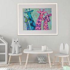 Giraffe Family, Cute Giraffe, Acrylic Canvas, Canvas Art, Star Art, Mixed Media Painting, Home Wall Decor, Watercolor Paper, All The Colors