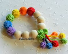 Rainbow Baby Toy Rattle Baby teether  Crochet Wood от MioLBoutique, $17.00