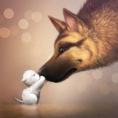 Cute art best friends white kitten and German Shepherd