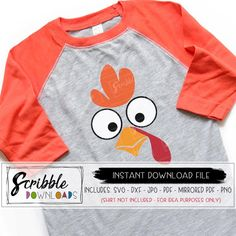 Turkey face svg for cricut or silhouette users or mirrored PDF for iron on transfer.  Digital download file. Thanksgiving Projects, Thanksgiving Decorations, Turkey Painting, Funny Turkey, Diy Organisation, Cute Diys, Iron On Transfer, Cut Shirts, Diy Shirt