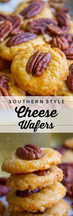 Southern Pecan Cheese Wafers (Perfect Holiday Appetizer) from The Food Charlatan. - Southern Pecan Cheese Wafers (Perfect Holiday Appetizer) from The Food Charlatan. Finger Food Appetizers, Appetizer Dips, Appetizers For Party, Finger Foods, Appetizer Recipes, Snack Recipes, Cooking Recipes, Southern Appetizers, Cheese Appetizers