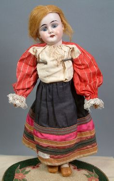 "BEAUTIFUL & SWEET -- 15.5"" ANTIQUE BISQUE GIRL DOLL w/ORIGINAL ANTIQUE ETHNIC FANTASTIC RUSSIAN OUTFIT!!"