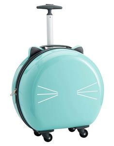 Pottery Barn Teen Hard-Sided Round Cat Carry On, Light Aqua Suitcases For Teens, Cute Suitcases, Teen Luggage, Cute Luggage, Cat Light, Preschool Gifts, Stylish Backpacks, Carry On Suitcase, Pottery Barn Teen