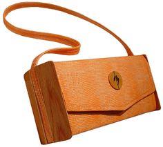 Transformable designer purse dressed in Tangerine Snake.  SharonBarber.com