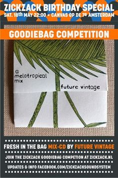 Sun is shining, so we give you another one today!  We're proud to have full support from Future Vintage from our start. therefor THIS GREAT MELOTROPICAL MIX GOES IN THE BAG!  To win all this goodies - go to http://zickzack.nl/