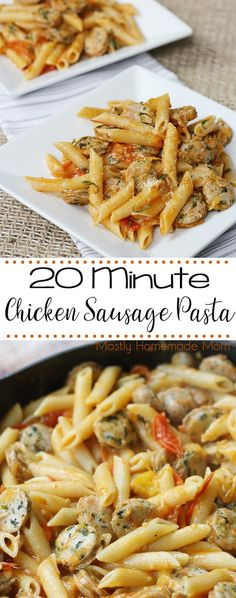Chicken Sausage Pasta served in under 20 minutes! Penne pasta tossed with a fresh cherry tomato sauce, chicken sausage, and Parmesan cheese! #ad #RealTalkColeman #chickensausagepasta #dinner #recipe