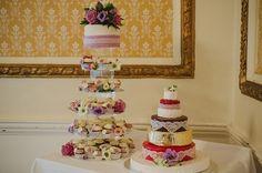 Brides cupcakes and groom's cheese pinwheel cake
