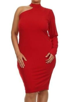 Plus Size Red One Sleeve Off Shoulder Dress