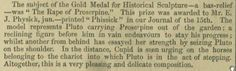 1849 Gold Medal Sculpture by Edward James Physick, born 1829. Article from Dec 1849 Illustrated London News.