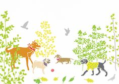 """Dogs in the Park"" by Holly Francesca. Pug, dachshund, labrador type, lurcher type."