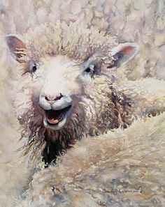 Lamb bleating, surrounded by other sheep - painting by Ann Balch Sheep Paintings, Paintings I Love, Animal Paintings, Art Watercolor, Watercolor Animals, Regard Animal, Sheep Art, Guache, Wow Art