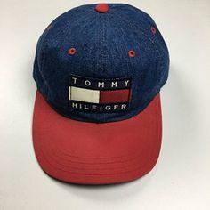 a97e477a8 Vtg 90's Tommy Hilfiger Denim Hat Strapback Leather Snapback Jacket Shirt  Lotus Blue Red Big Logo Flag Puffer Fleece