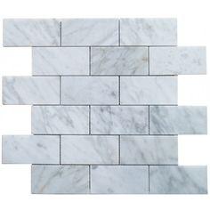 2x4 Italian White Carrara Marble Brick Pattern Honed Mosaic Tile. #Italian_White_Carrara #Honed_Mosaic_Tile