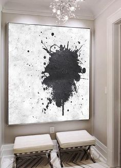 Hand painted black and white painting MN12A, Abstract art, minimalist painting for modern interiors and neutral home. Celine Ziang Art (CZArtDesign.com)