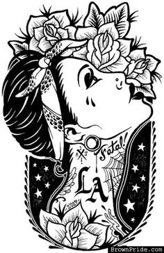 Tattoo / ink / inked - want this without the LA Berg Tattoo, Chicanas Tattoo, Cholo Tattoo, Tattoo Sketches, Tattoo Drawings, Love Tattoos, Girl Tattoos, Tatoos, Tattoo Gesicht