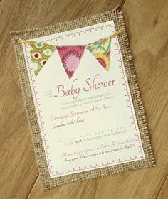 Burlap Baby Shower 5x7 Invitation by SJJohnstone on Etsy, $3.00....this is too adorable Amanda