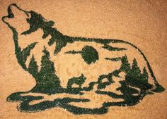 Embroidered Wolf scene towel sets with free by TheHappyvibe, $18.00