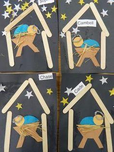 Popsicle stick Jesus in a Manger craft for kids