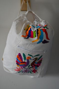 Otomi Hand Embroidered Bag Back Pack Style Purse Colorful