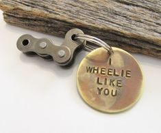 Christmas Gift for Biker / Boyfriend Gift / Christmas Gift for Girlfriend / Motorcycle Keychain / Moto Life / Gift for Fiance / Dirt Bike / Key Chains Boy I WHEELIE LIKE YOU Personalized keychain with stamped message and recycled dirt bike chain. How unique is this gift?!?! This