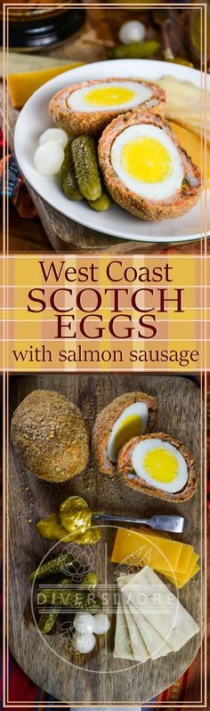 West Coast Scotch Eggs, a pescetarian treat made with fresh wild salmon, and baked instead of fried. by BC Wild Salmon. Best Breakfast Recipes, Brunch Recipes, Snack Recipes, Dinner Recipes, Snacks, Appetizer Recipes, Appetizers, Healthy Recipes, Best Seafood Recipes