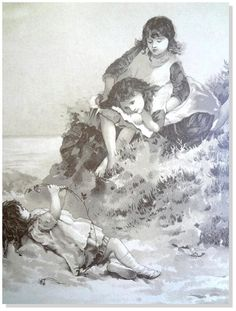 Children,Antique,Prints-Lizzie Lawson/By The Ocean/ Nister Sepia Tone litho1880  #Vintage123yearsold