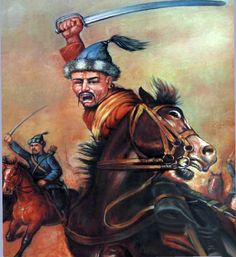 Charging Mongol horde