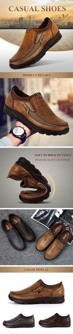 95cd3d2e821 US 31.53 Men Large Size Hand Stitching Microfiber Leather Non-slip Casual  Shoes Men Dress