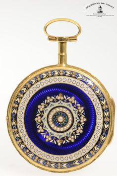 Signed Breguet à Paris, Movement No. 20063, Case No. 20063, 49 mm, 80 g, circa 1790  A gentleman's decorative, extremely rare gold enamel pocket watch studded with half pearls with corresponding gold enamel chatelaine, length 285 mm Case: 20K gold. Dial: