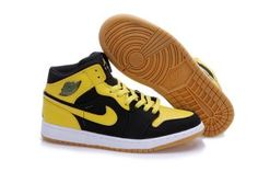 Men Air Jordan 1 Yellow Black Shoes