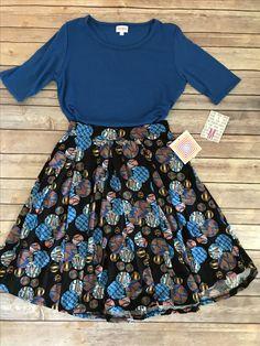 Lularoe Gigi Madison combo. Blue. Skirt & Top outfit. Ways to wear!