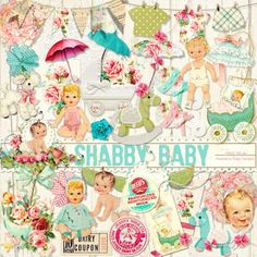 A set of baby themed ephemera to coordinate with the Shabby Baby collection.