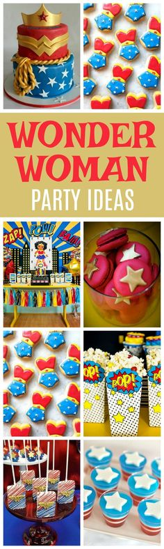 19 Wonder Woman Birthday Party Ideas - Pretty My Party Wonder Woman Kuchen, Wonder Woman Cake, Wonder Woman Party, Superhero Birthday Party, Birthday Diy, Birthday Party Themes, Birthday Ideas, Cake Birthday, Birthday Presents