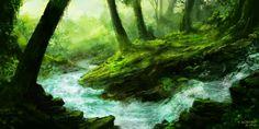 Forest river. Digital painting. threefootgiraffe.blogspot.co.nz Forest River, Aquarium, Waterfall, Digital, Painting, Outdoor, Art, Goldfish Bowl, Outdoors