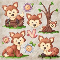 Foxy Forest 1 Clip Art Set