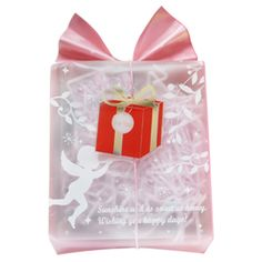 Plastic tag red gift box. Gift box shaped clear tags. Christmas gift wrapping ideas.