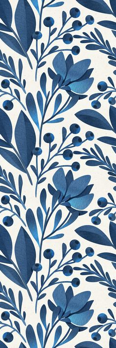 Removable Wallpaper Self Adhesive Wallpaper Blue Flowers and Leaves Peel & Stick Wallpaper