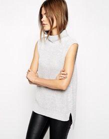 Roll neck sleeveless knit