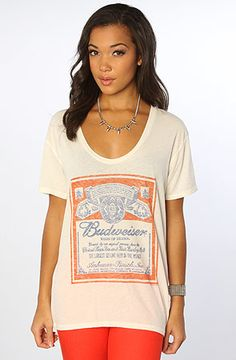 The Bud Logo V Neck Tee in Sugar by Junkfood Clothing