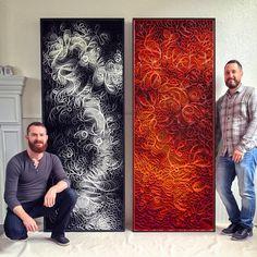 "Artists Stephen Stum and Jason Hallman of STALLMAN, work together to create their ""Canvas on Edge"" collection."