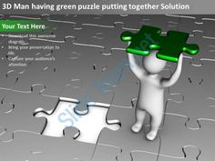 3d man having green puzzle putting together solution ppt graphics icons Slide01