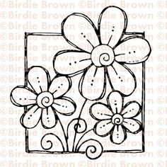 Digital stamp  Doodled Flower by BirdieBrown on Etsy, $2.50