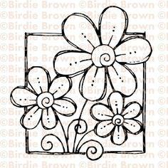 Digital stamp  Doodled Flower by BirdieBrown on Etsy, $2.50