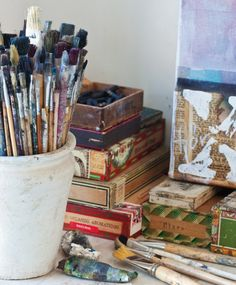 this is what my art desk usually looks like...and add some kind of caffeinated beverage.