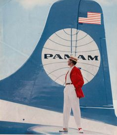 1950s Prior to adopting the blue ball with a white background Pan Am experimented with the reverse colors. This picturew was taken from a m...