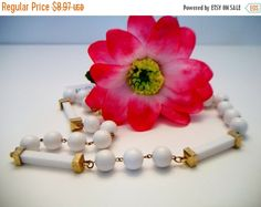 SHOP4FUN Vintage White Bar Beaded Necklace by ALEXLITTLETHINGS